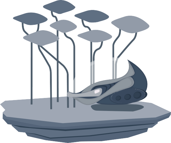 Image of a spaceship landed on a floating island