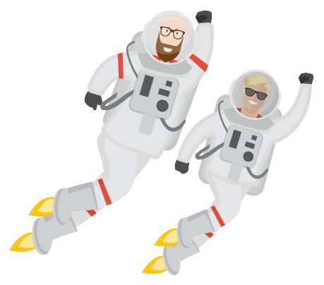 Image of a space man and woman